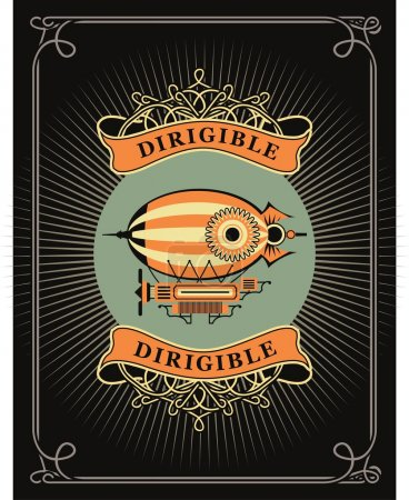 Illustration for Retro poster dirigible letatatelny apparatus in a circle with patterns - Royalty Free Image
