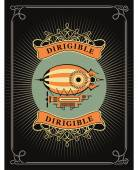 Retro poster dirigible letatatelny apparatus in a circle with patterns