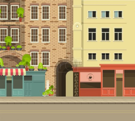 Illustration for City street with tall buildings panoramic views and shops on the first floor - Royalty Free Image