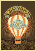 Hot Air Balloon Steampunk on the poster with the mechanical elements and gear