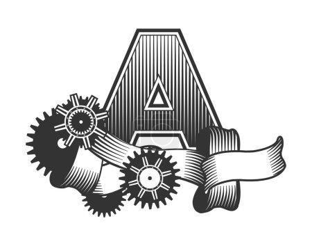 Illustration pour Vintage lettre barres dessinées aléatoirement décorées avec des rubans pièces métalliques engrenages style punk à la vapeur, sur un fond blanc, lettre A - image libre de droit