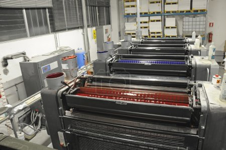View from above of offset printing machine...
