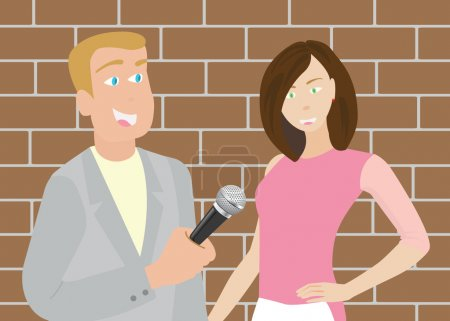A vector of reporter is interviewing the interview...
