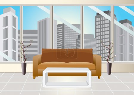 Illustration for Reception room and office building vie - Royalty Free Image