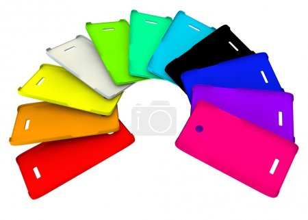 Photo pour Housses en plastique multicolore pour votre téléphone - image libre de droit