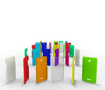 Photo pour Housses en plastique coloré pour votre téléphone - image libre de droit