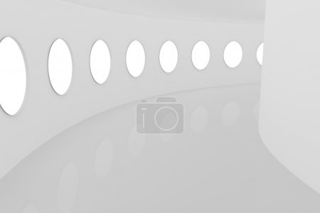 Architectural abstract white corridor with windows