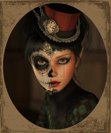Half Catrina Makeup, 3d CG