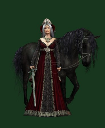 Lady of the Castle with black Horse, 3d CG CA