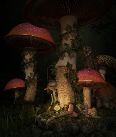 asleep in the mushroom forest, 3d CG