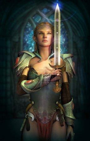Photo pour Infographie 3D d'une fée avec une armure fantastique et l'épée - image libre de droit