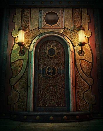 Photo pour Infographie 3D d'une porte de chambre forte en style Steampunk - image libre de droit