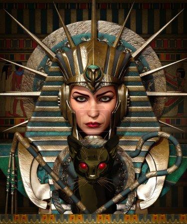 Photo pour Infographie 3D d'une jeune femme avec des vêtements et de maquillage égyptien antique - image libre de droit