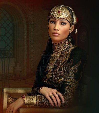 Photo pour Graphiques informatiques 3D d'un portrait fantastique d'une jeune femme avec des bijoux et des vêtements orientaux anciens - image libre de droit