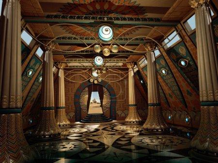 Ancient Temple Interior, 3d CG