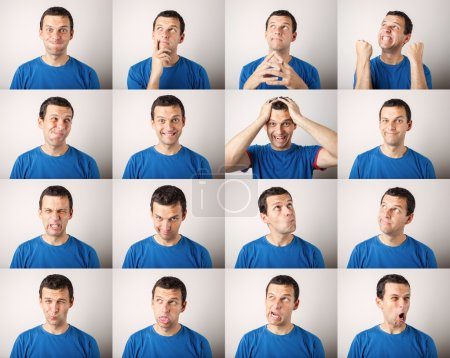 Photo for Mosaic of young man expressing different face expressions - Royalty Free Image