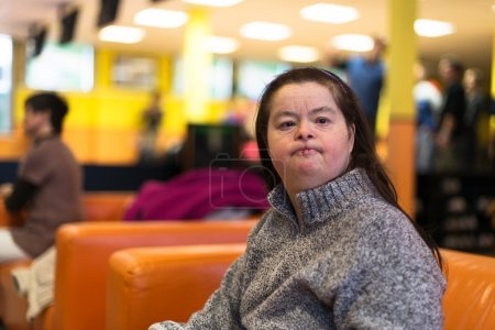 Woman with down syndrome at bowling