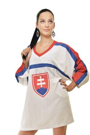 Woman in sport t-shirt