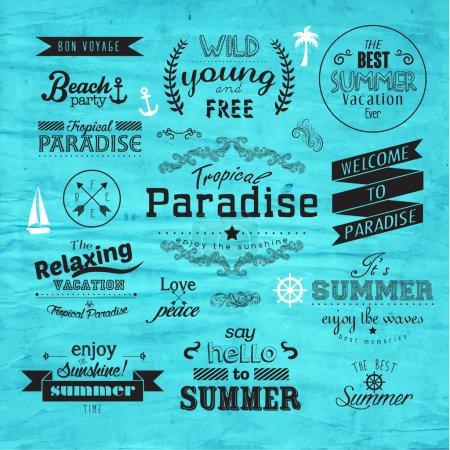 Illustration pour Insigne de vacances d'été Vintage Typographie Design vectoriel - image libre de droit