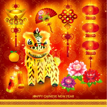 Illustration for Happy Chinese New Year Decoration Set Vector Design - Royalty Free Image