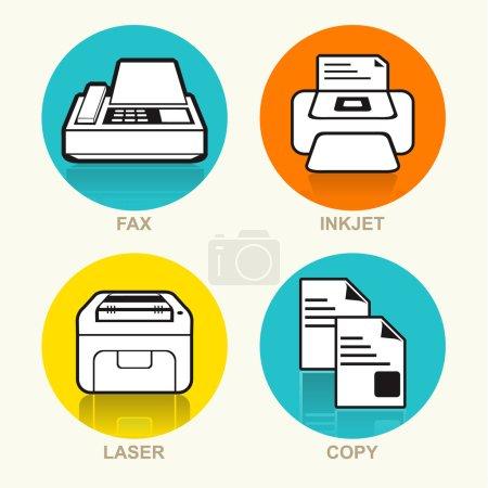 Printing Machine Vector Icon Set