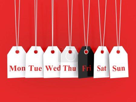 Photo pour Symboles des jours de la semaine et promotions du vendredi noir - image libre de droit