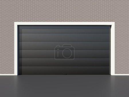 Modern black garage door