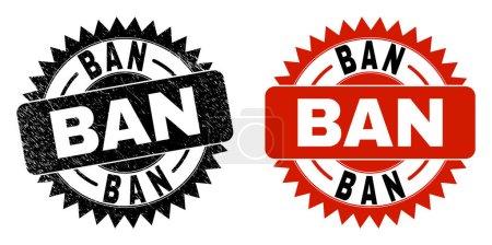 Illustration pour Rosette noire timbre de sceau BAN. Timbre d'étanchéité vectoriel plat avec titre BAN à l'intérieur d'une rosette tranchante et gabarit original propre. Imitation caoutchouc avec surface corrodée. - image libre de droit