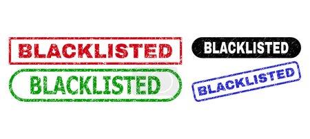 Illustration pour Scellés grunge noircis. Joints plats texturés vectoriels avec étiquette BLACKLISTED à l'intérieur de différents rectangles et formes arrondies, en versions bleu, rouge, vert, noir. Filigranes avec style grunge. - image libre de droit