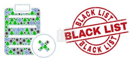 Illustration pour Combinaison de coronavirus d'hiver supprimer la page de rapport, et sale Liste noire rouge imitation de timbre rond. Collage supprimer la page de rapport est conçu à partir de coronavirus, forêt, et les symboles de neige. - image libre de droit