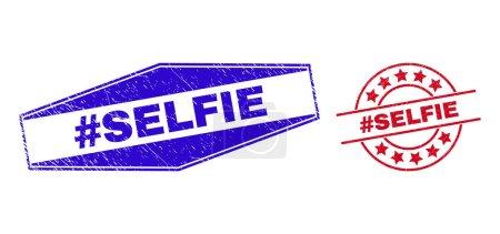 Illustration pour Hashtag SELFIE timbres. Rouge arrondi et bleu aplatir hexagone hashtag SELFIE timbres de sceau. Timbres de scellement vectoriels plats avec hashtag SELFIE phrase à l'intérieur rond et aplatir les formes hexagonales. - image libre de droit