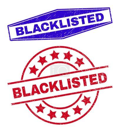 Illustration pour Cachets de la liste noire. Timbres hexagonaux étirés rouges ronds et bleus NOIR. Timbres de détresse vectoriels plats avec phrase BLACKLISTED à l'intérieur de formes hexagonales rondes et dilatées. - image libre de droit