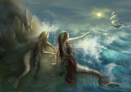 Hunting two mermaids in the rocks on the background of a stormy ocean. Digital art.