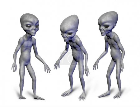 Grey realistic alien in space. 3D characters. Digi...