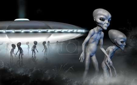 Flying saucer and two grey realistic alien in space. 3D characters. Digital illustration.