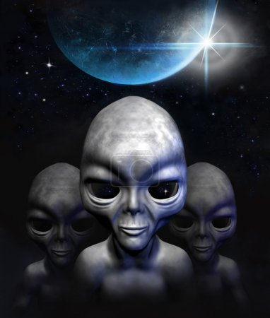 Grey aliens in space, planet and stars. 3D charact...