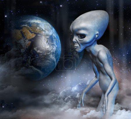 Grey alien in earth orbit is watching the planet e...