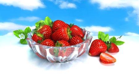 Berries. Red strawberries in a glass vase. Still life. 3 D illustration. Digital illustration. Digital art.