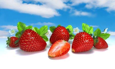 Berries. Red strawberries on white. Still life. 3 D illustration. Digital illustration. Digital art.