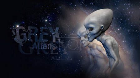 Two grey realistic aliens  in space. 3D characters...