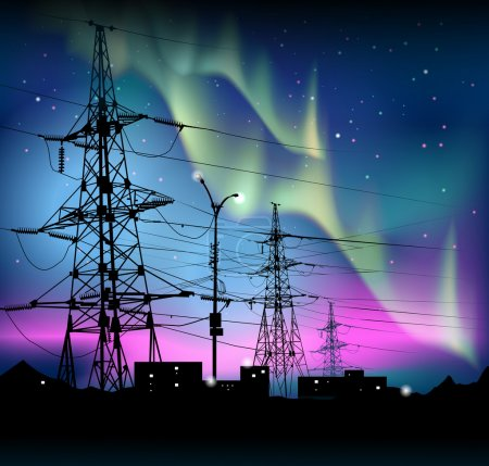 Aurora polaris. Northern lights and electric towers against the starry night sky. Vector.