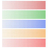 Halftone elements backgrounds Fading circles in 5 colors