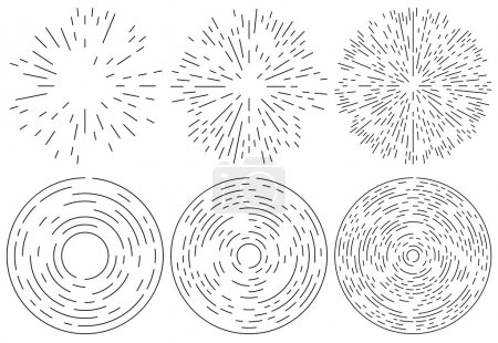 Set of radiating and concentric lines elements.