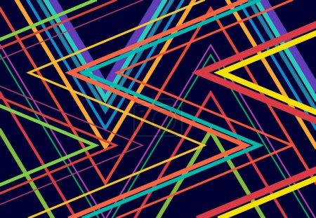 Illustration pour Vives, vibrantes zig-zag, criss-cross, dentelée, grille angulaire froissée, maille, treillis ou grille, grille de lignes angulaires aléatoires. Abstrait géométrique coloré, fond multicolore, texture et motif - image libre de droit