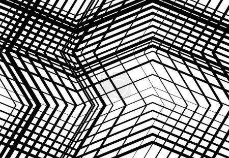 Illustration pour Zig-zag, criss-cross, dentelée, grille angulaire froissée, maille, treillis ou grille, grille de lignes angulaires aléatoires. Abstrait géométrique noir et blanc, fond monochrome, texture et motif - image libre de droit