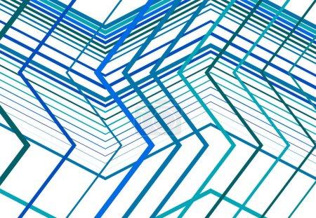 Illustration pour Zig-zag, criss-cross, dentelée, grille angulaire froissée, maille, treillis ou grille, grille de lignes angulaires aléatoires. Abstrait géométrique coloré BLEU fond, texture et motif - image libre de droit