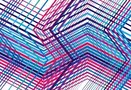 Illustration pour Zig-zag, criss-cross, dentelée, grille angulaire froissée, maille, treillis ou grille, grille de lignes angulaires aléatoires. Abstrait géométrique coloré PURPLE-BLUE fond, texture et motif - image libre de droit
