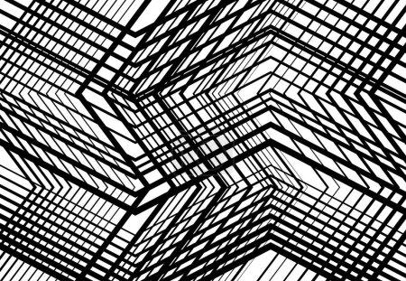 Illustration pour Zig-zag, criss-cross, dentelée, grille angulaire froissée, maille, treillis ou grille, grille de lignes angulaires aléatoires. Niveaux de gris géométriques abstraits, fond monochrome, texture et motif - image libre de droit