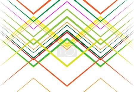 Illustration pour Ondulé, rainuré, ondulé, zig-zag, lignes croisées abstraites géométrique coloré, motif multicolore, fond, texture ou toile de fond - image libre de droit