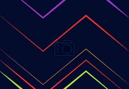 Illustration pour Vif, vibrant ondulé, ondulé, zig-zag, criss-cross et dentelé, plissé, rides lignes, rayures abstraites géométrique coloré, motif multicolore, fond, texture ou toile de fond - image libre de droit